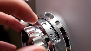 fingers turning safe combination lock